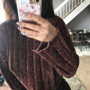 F21 chenille mauve sweater